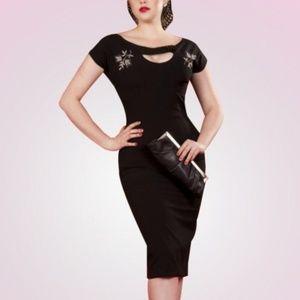 Bettie Page Tatyana Black Embroidered Wiggle Dress